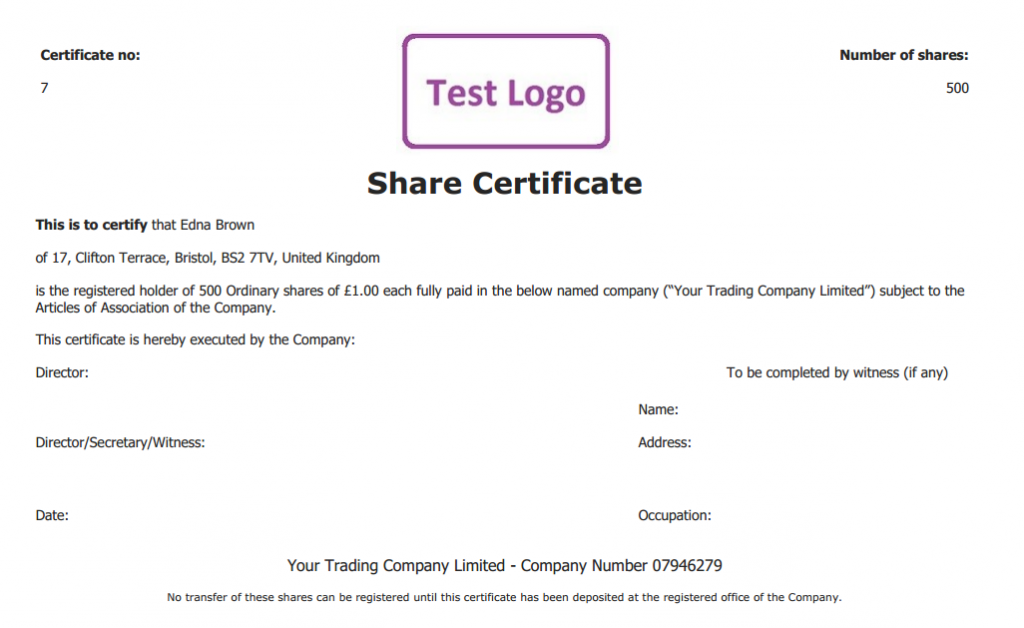 Share Certificate Pdf  Example Of Share Certificate