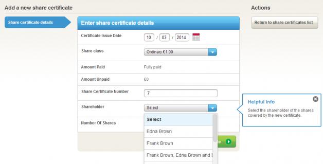 Share certificate sholders