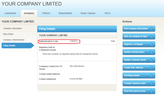 Authentication code recorded on Filing Details screen