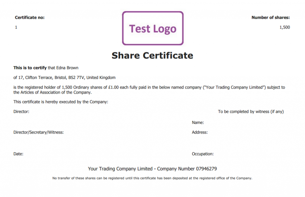 Free share certificate template create perfect share for Share certificate template alberta