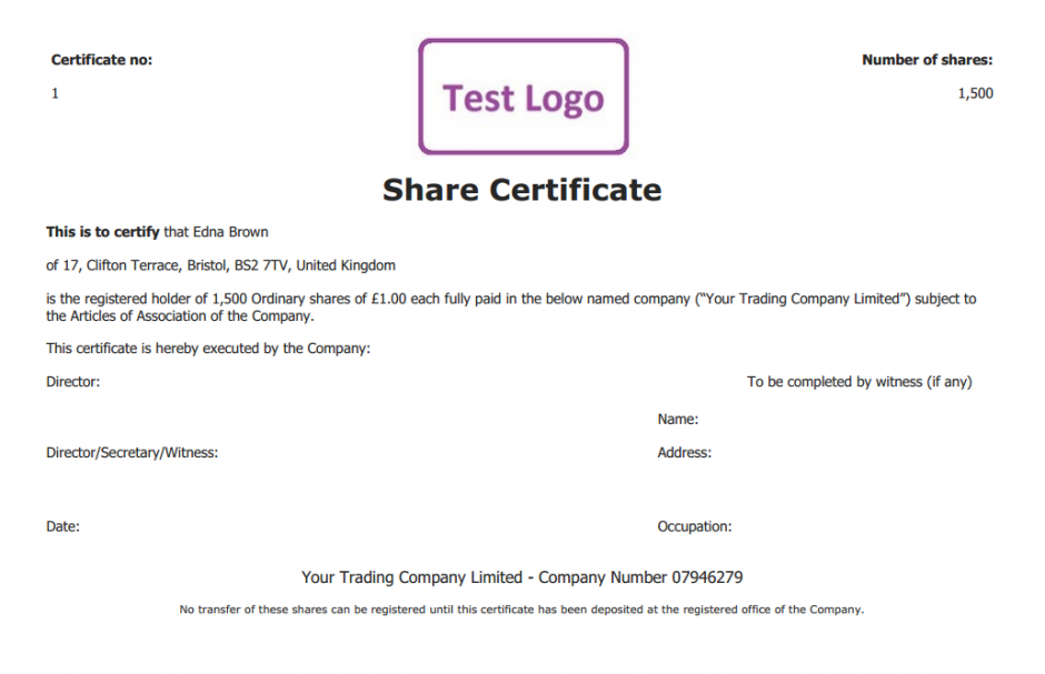 Share Certificate Template What Needs To Be Included