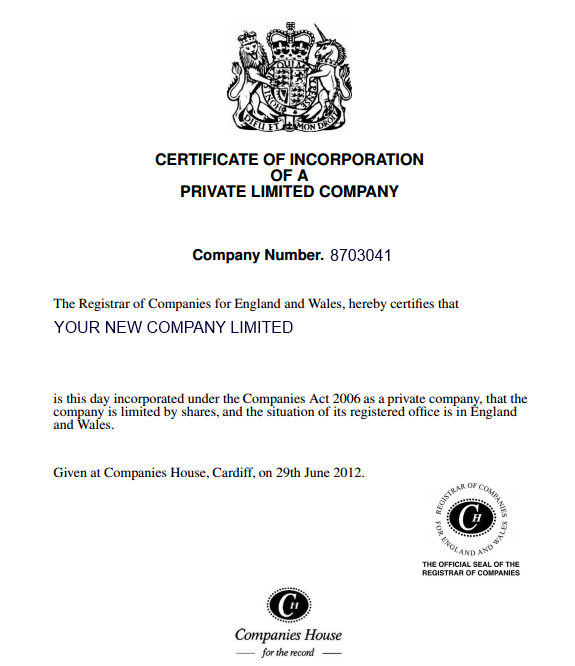 dividend certificate template - certificate of incorporation inform direct