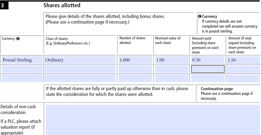 Form SH01: how to file the return of allotment of shares