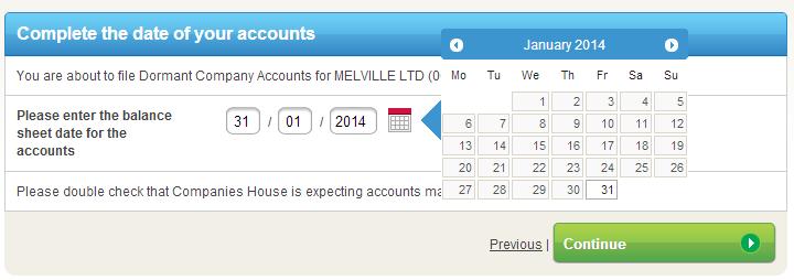 Dormant company accounts date