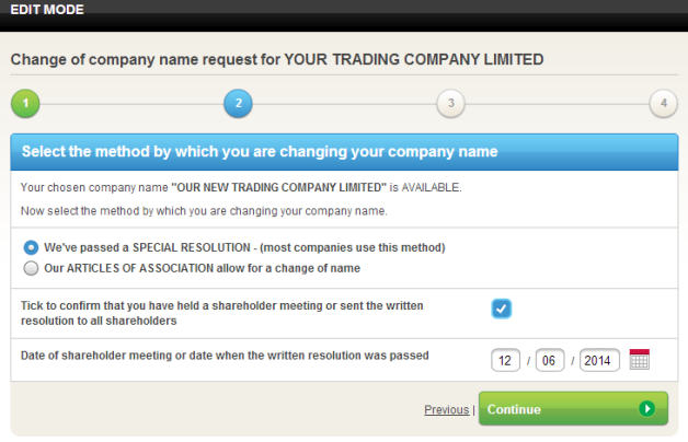Select method by which you will change company name