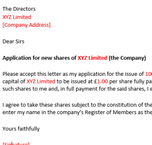 Application for new shares