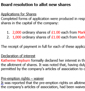 Board resolution to issue shares