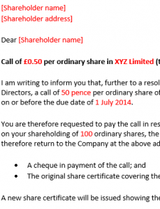 Call notice to shareholder