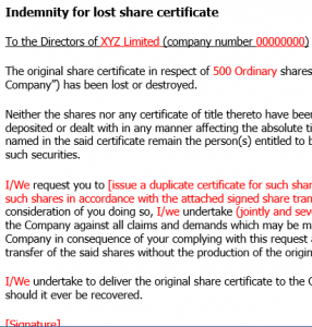 Indemnity for lost share certificate