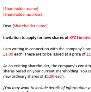 Invitation to apply for shares