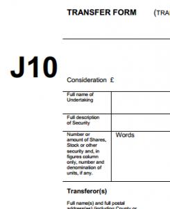 J10 stock transfer form