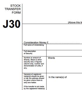 J30 stock transfer form
