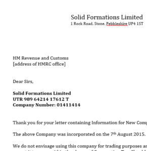 Letter confirming to HMRC a new company is to be dormant