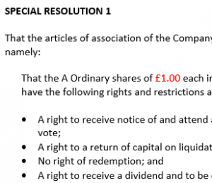 Written special resolution to create new share class and allot shares