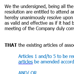 Written resolution to change articles of association