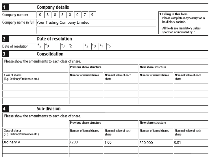 Share split SH02 form example