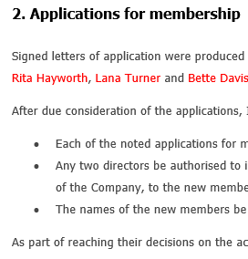 cceptance of membership applications