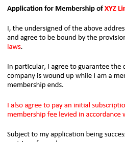 Application for membership of a company limited by guarantee