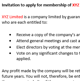Invitation to apply for membership of company limited by guarantee
