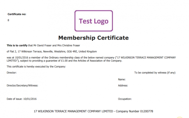 Membership Certificate - Company Limited by Guarantee