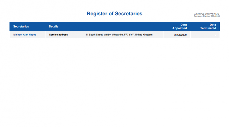 Register of Secretaries
