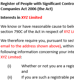 Section 790D notice to individual