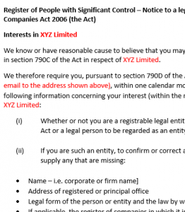 Section 790D notice to legal entity