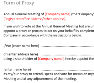 Form of proxy