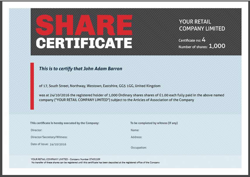 Stock certificate template uk choice image certificate for Free share certificate template bc