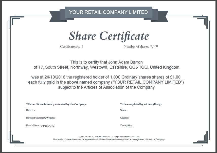 Company Share Certificate Template  Example Of Share Certificate