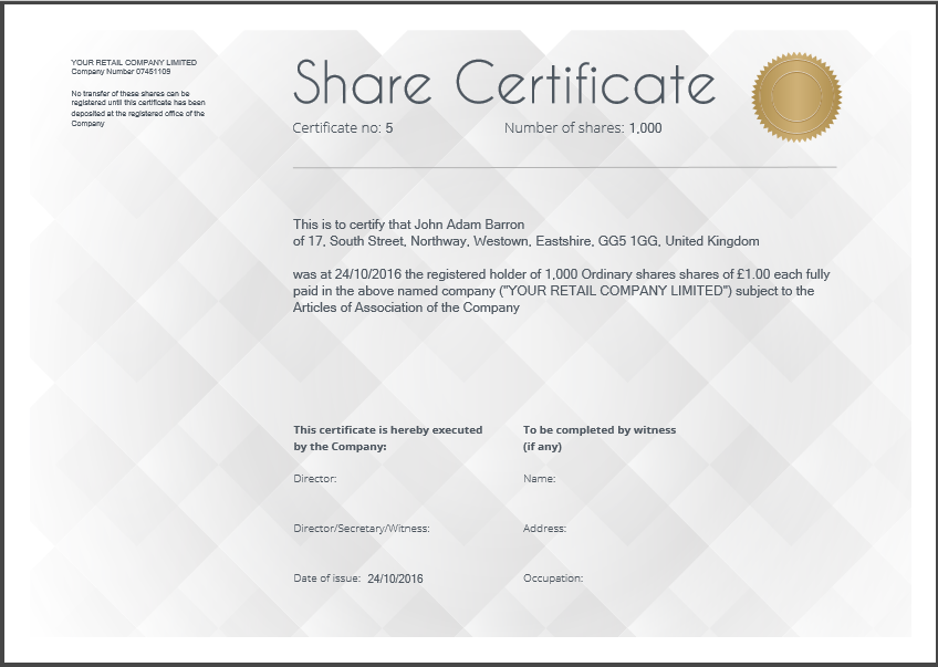 Share certificate template - Diamond