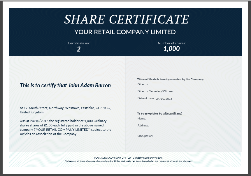 Share certificate template: what needs to be included
