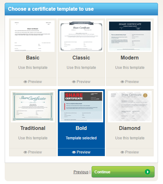 Share certificate template selection
