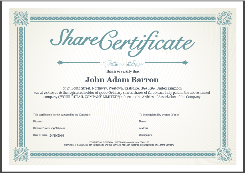 traditional share certificate template