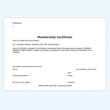 Online membership certificates