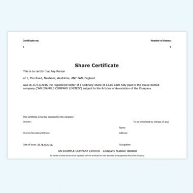 Online share certificates