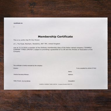 Printed membership certificates