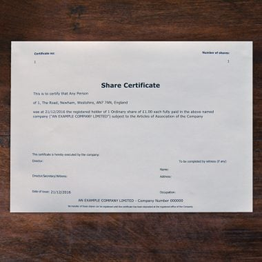 Printed share certificates