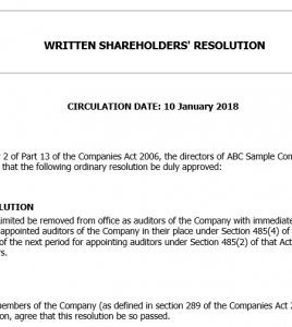 Written shareholder's resolution to remove and replace an auditor