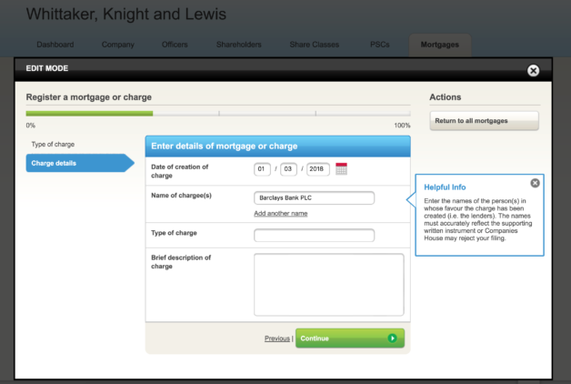 Register a mortgage