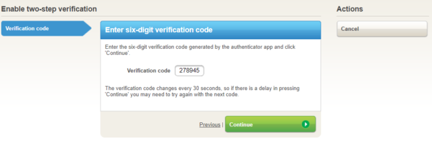 Enter six-digit verification code to enable two-step verification