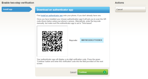 Scan QR code to synchronise with authenticator app