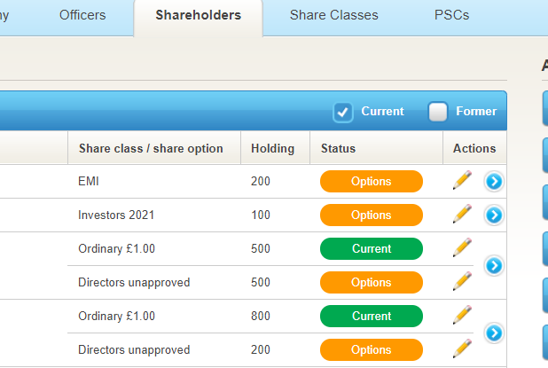 Shareholders screen with options 2