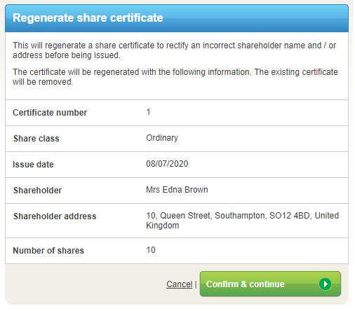 ShareCertificateRegenerationDetails