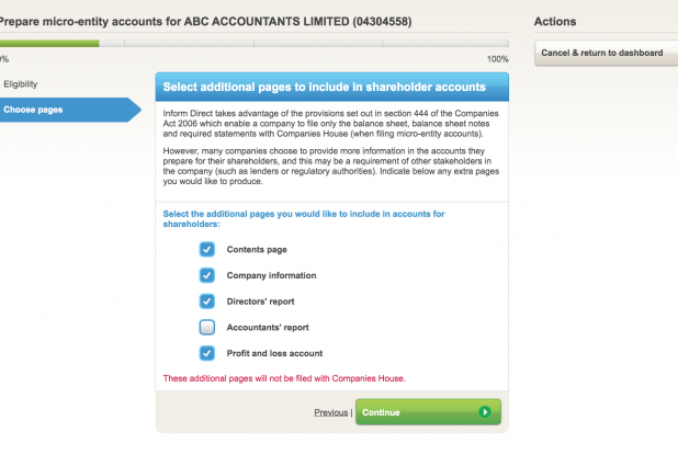 micro entity accounts additional pages