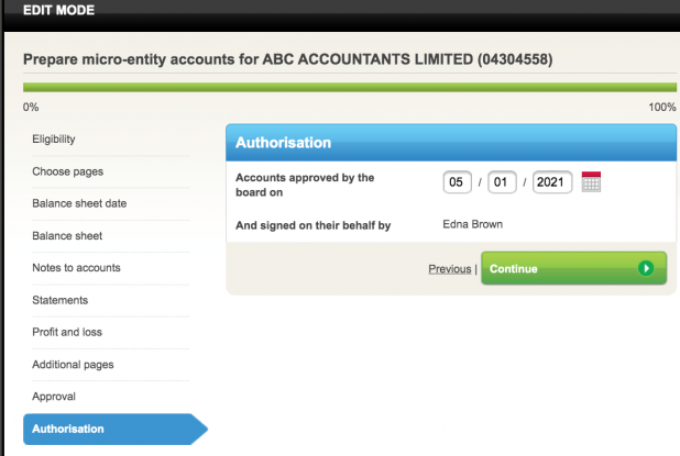 authorisation of accounts