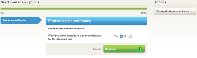Grant options generate certificate