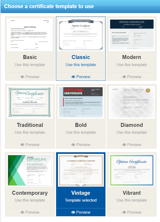 Option certificate templates